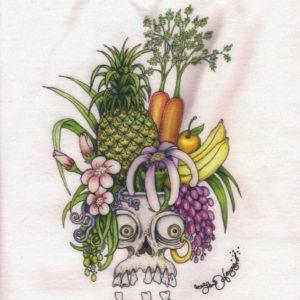 Carmen Miranda Skull Ladies 100% cotton deep V-Neck T-Shirt, White