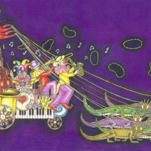 """Mardi Gras 2016 Giclee on Canvas, signed, numbered and remarqued 16″ x 26."""""""