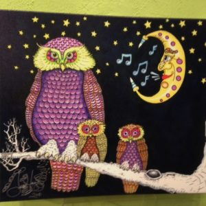 """Night owls in the Moonlight Giclee on Canvas, signed, numbered and remarqued 16″ x 20."""""""
