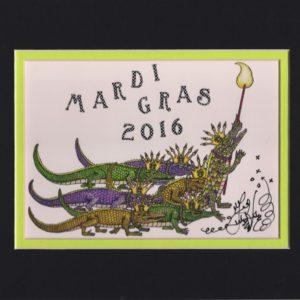 Gators on Parade Mardi Gras 2016 8″ x 10″ Fine Art Giclee, signed