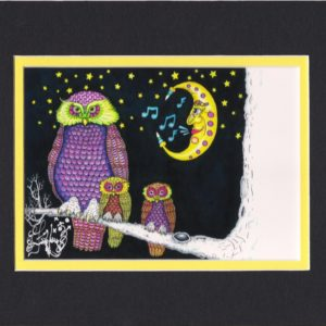 Night Owl and her Babies 8×10 matted print, signed