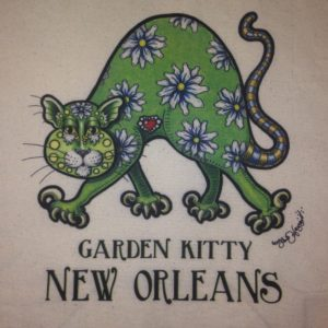 New Orleans Garden Kitty Canvas Tote