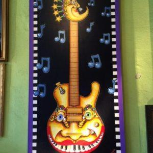 "The ""David Bowie"" Guitar, original oil painting, 26″ x 60″"