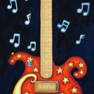 Red Guitar with brass horns fine art giclee on paper, remarqued, signed and numbered by Jamie