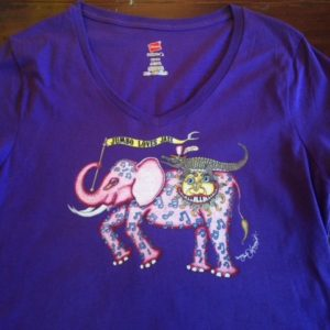 Jumbo Loves Jazz Ladies 100% cotton deep V-Neck T-Shirt, Purple
