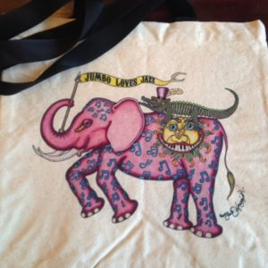 Jumbo Loves Jazz New Orleans Canvas Tote