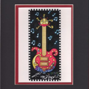 Red Guitar with brass horns Fine Art Giclee, matted to fit an 8″ x 10″ frame