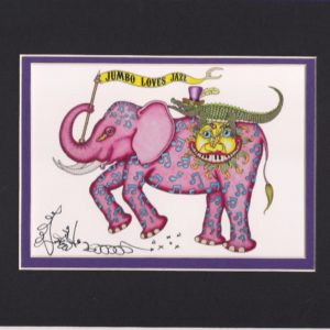 Jumbo Loves Jazz Fine Art Giclee, matted to fit an 8″ x 10″ frame