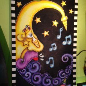 Moon Shine, original oil painting, 47″ x 24″, PLUS FREE 4 SQUARE CIRCLE PAINTING