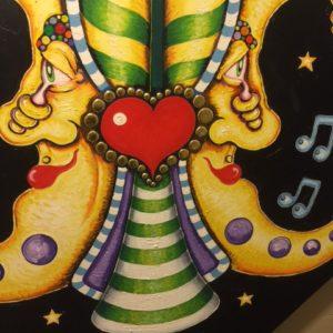 DOUBLE SINGING MOON FLEUR DE LIS, original oil painting, 31″ x 31″