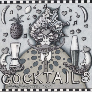Cocktails Black & Grey limited edition giclee, Signed