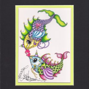 Kissing Fish Fine Art Giclee, matted to fit an 8″ x 10″ frame