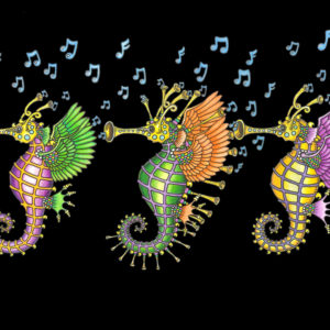 "NEW ORLEANS ""SEA HORNS""  Limited Edition Fine Art Giclee, signed 12 X 16 Black background version"