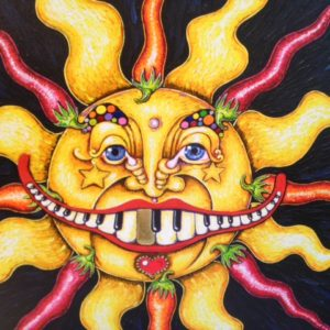 """Chili Pepper Sun Giclee on Canvas, signed, numbered and remarqued 30″ x 30."""""""