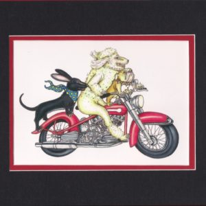 DOGS RIDING HARLEY Fine Art Giclee, matted to fit an 8″ x 10″ frame