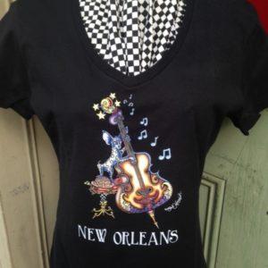 Bassman — Ladies 100% cotton deep V-Neck Chihuahua Playing Bass T-Shirt, black