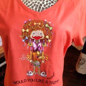 Would you like a Trim? Ladies 100% cotton deep V-Neck Nurse T-Shirt