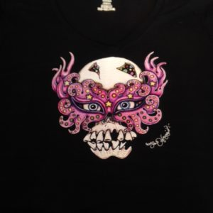 Skull with Mardi Gras Mask Ladies 100% cotton deep V-Neck T-Shirt, black