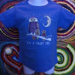 Night Owls Kids 100% cotton  T-Shirt, blue
