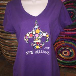 Fleur De Lis — Ladies 100% cotton deep V-Neck T-Shirt, Purple