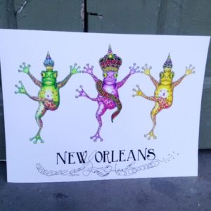 NEW ORLEANS DANCING FROGS MARDI GRAS 2015  Limited Edition Fine Art Giclee, signed 12 X 16