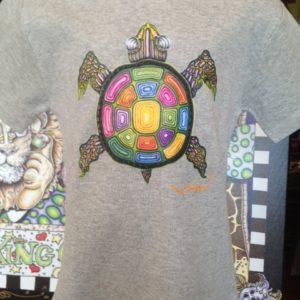 Rainbow Turtle Kids 100% cotton  T-Shirt, heather gray