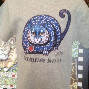 New Orleans Jazz Cat Kids 100% cotton  T-Shirt, heather gray
