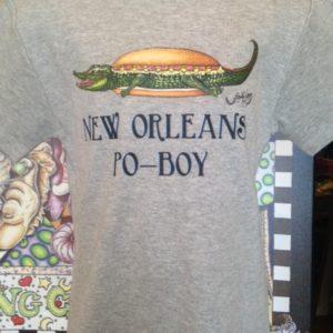 New Orleans Po-Boy Kids 100% cotton  T-Shirt, heather gray