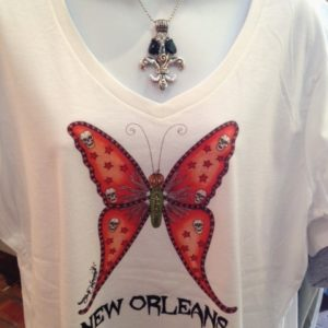 Halloween Butterfly — Ladies 100% cotton deep V-Neck T-Shirt, White