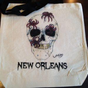 HALLOWEEN SPIDER SKULL New Orleans 100% COTTON Canvas Tote