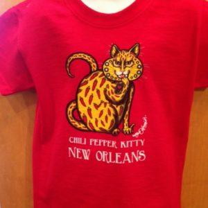 Chili Pepper Kitty Kids 100% cotton  T-Shirt, red