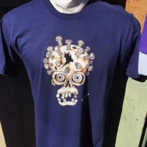 Bolt head Skull Crew Neck 100% cotton T-shirt, Choose your shirt color!