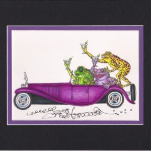 Frogs Driving a Bugatti Fine Art Giclee, matted to fit an 8″ x 10″ frame