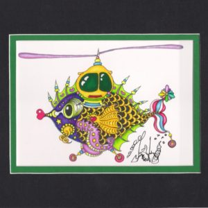 Whirly Fishcopter Fine Art Giclee, matted to fit an 8″ x 10″ frame