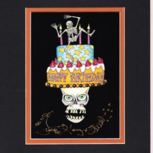 Skull Birthday Cake, Limited Edition Fine Art Giclee, black background, signed