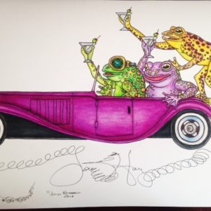 Martini Drinking Frogs driving a Bugatti Limited Edition Fine Art Giclee, signed and remarqued 12 X 16