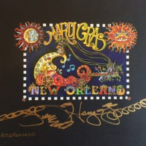 New Orleans Mardi Gras Limited Edition Fine Art Giclee, signed and remarqued 11 x 15