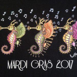 Mardi Gras 2017 Seahorses Crew Neck 100% cotton T-shirt, Choose your color!