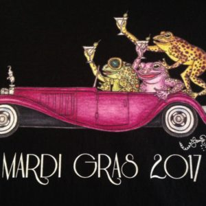 Mardi Gras 2017 Frogs Driving Bugatti Crew Neck 100% cotton T-shirt, Choose your color!