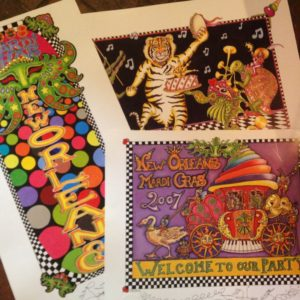 Set of 3 Limited Edition Mardi Gras lithographs, signed and numbered