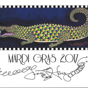 Mardi Gras 2017 Gator with Frog Limited Edition Fine Art Giclee, signed, 12 x 16