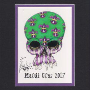 Mardi Gras 2017 Fleur de Lis Skull, matted to fit an 8″ x 10″ frame