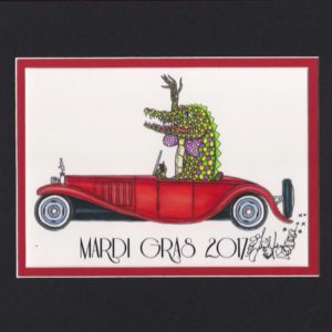 Mardi Gras 2017 Alligator Driving 1930's Bugatti, matted to fit an 8″ x 10″ frame