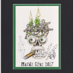 Mardi Gras 2017 Cigar Smoking Skull, matted to fit an 8″ x 10″ frame