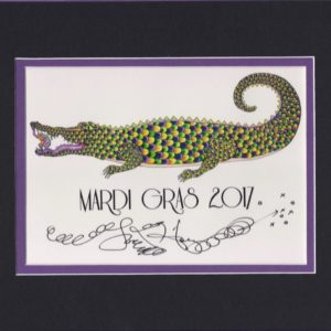 Mardi Gras Gator with Frog, matted to fit an 8″ x 10″ frame