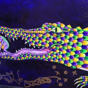Mardi Gras Alligator with Frog Giclee on Canvas, signed, numbered and remarqued 8″ x 22″