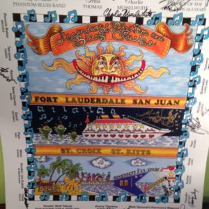 2008 Legendary Rhythm & Blues Cruise Poster, signed with Autographs