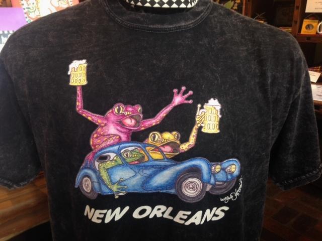 ca610065c Frogs in a Bugatti drinking Beer Vinegar Wash 100% Cotton T-shirt ...
