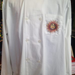 Jamie Hayes 100% Cotton Chef Coat, printed front and back