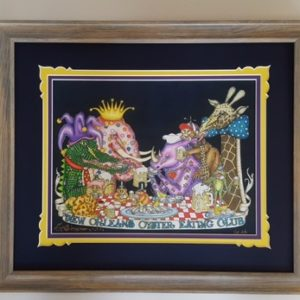 "Wood Framed ""New Orleans Oyster Eating Club"" Fancy Version with added Gold Leaf, Fine Art Giclee, signed and numbered"